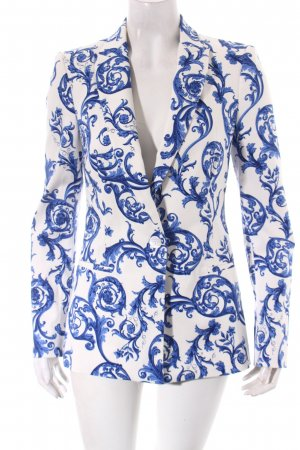 Zara Long-Blazer blau-weiß florales Muster Elegant