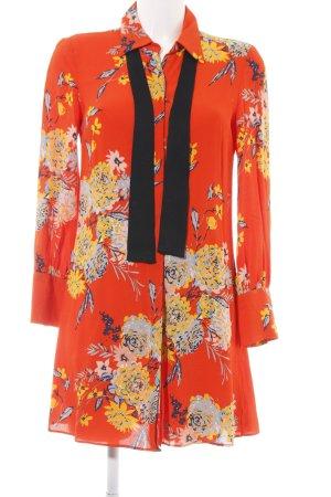 Zara Long-Bluse rot Blumenmuster Elegant