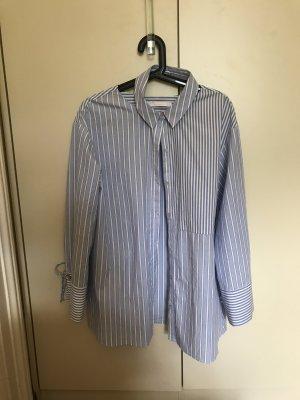 Zara Blouse à manches longues blanc-bleu azur coton