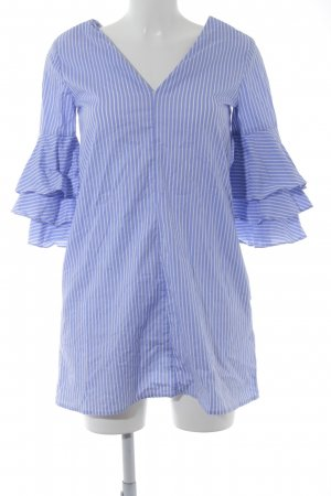 Zara Long Blouse azure-white striped pattern casual look