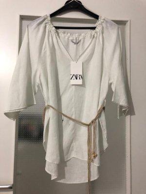 Zara Linen Blouse white-natural white