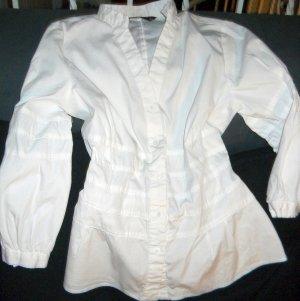 ZARA Long Bluse Shirt weiß Raffung Biesen 3/4 Arm V Ausschnitt XS S M 36 38 TOP