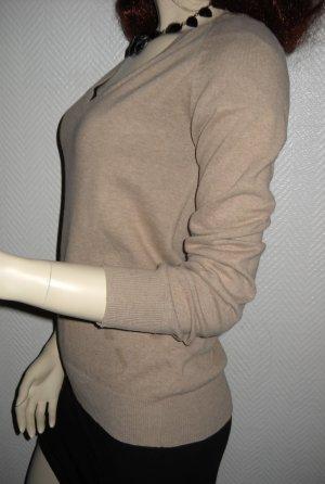 ZARA Long Pullover Pulli Baumwolle Langarm Feinstrick beige 36 38 40 XS S Mge