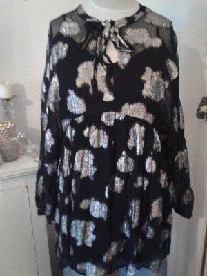 Zara Blusa larga negro-color plata
