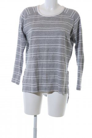 Zara Manica lunga grigio chiaro-bianco motivo a righe stile casual
