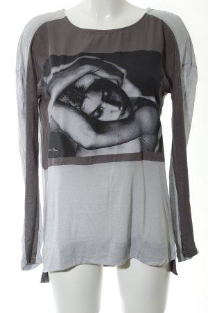 Zara Manica lunga grigio chiaro Stampa a tema stile casual