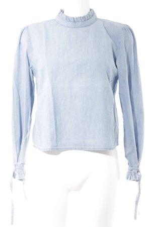 Zara Top à manches longues bleu azur style romantique