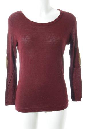 Zara Top à manches longues rouge carmin-chameau style simple