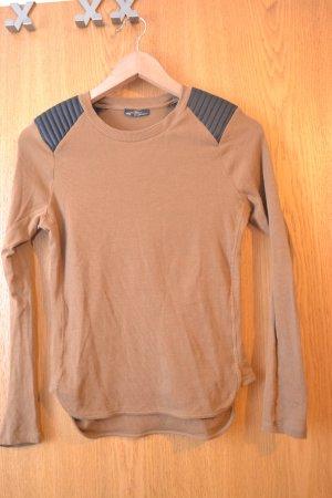 Zara Longsleeve Rippshirt in braun mit schwarzem Kunstlederbesatz