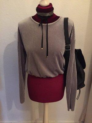 Zara Longsleeve Samt Stripes Silber grau Shirt Cropped S