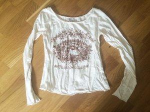 Zara, Longsleeve, Shirt, weiß, Glitzer, XS