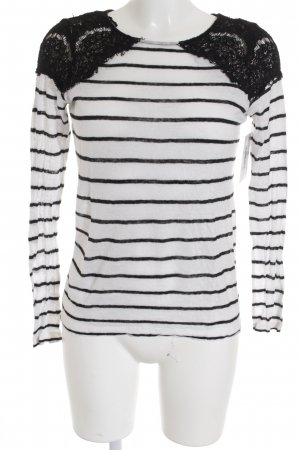 Zara Manga larga blanco-negro estampado a rayas look casual