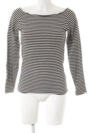 Zara Top à manches longues blanc-noir motif rayé Paris-Look