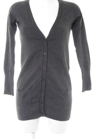 Zara Chaleco de punto largo gris antracita-marrón oscuro look casual