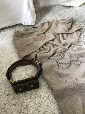 Zara Lounge Wear Set Overall Knit Strick Camel Beige Jumper Jumpsuit
