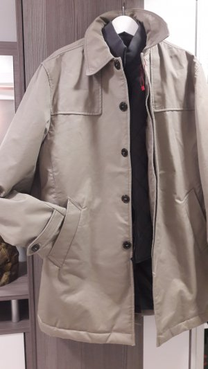 Zara Basic Abrigo corto color plata-beige Algodón