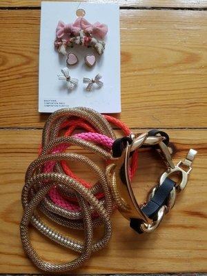 Zara Mango Schmuck Set gold rosa nude Statement Armband Ohrringe Accessoires