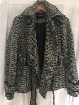 Zara Abrigo de lana blanco-negro