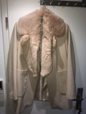 Zara Basic Fake Fur Coat cream cotton