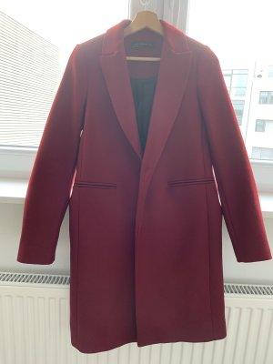 Zara Woman Abrigo de lana carmín-burdeos