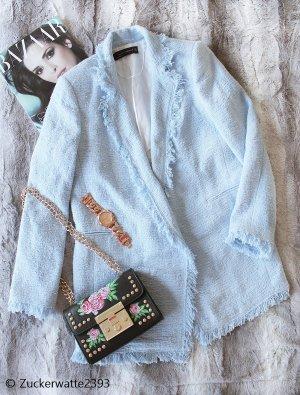 Zara Mantel Boucle Blazer Longblazer Gr 36/S babyblau tweed