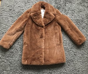 Zara Woman Manteau en fausse fourrure brun-cognac