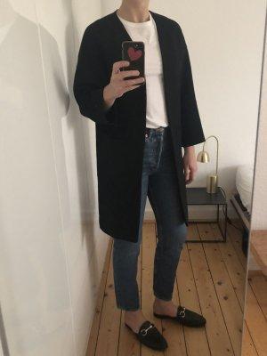 Zara Mantel Coat Blazer Longblazer Trench schwarz minimalistisch Gr. S Trend