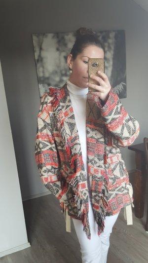 Zara Mantel Fransenmantel Neu Fransen Gr M-L Boho Inka Jacke rot Creme Muster Cape