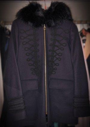 Zara Manteau en fausse fourrure noir-bleu foncé