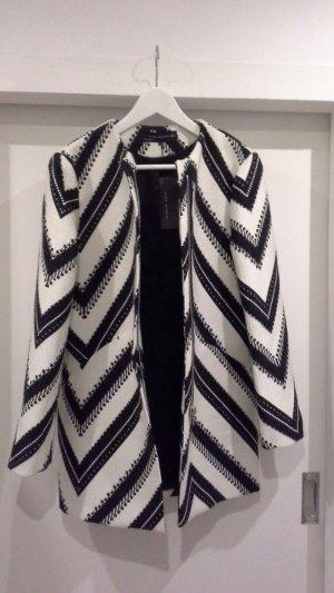 Zara Manteau oversized blanc-noir coton