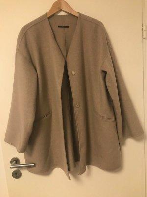 Zara Mantel Handmade L XL 40 42 Beige Nude Wolle oversize Übergang neuwertig!