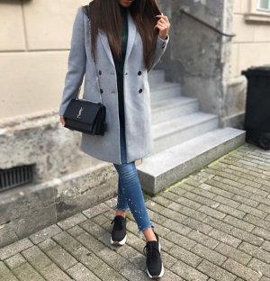 Zara Manteau argenté-gris