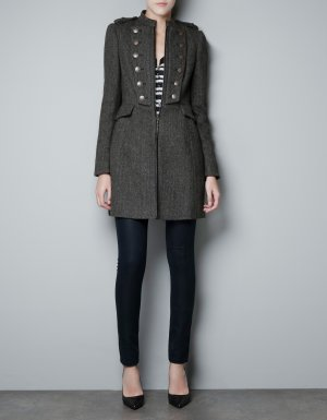 Zara Mantel Jacke Military Grau L 40
