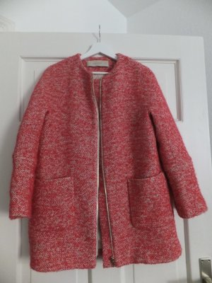 Zara Mantel M Pink Nude Tweed-Look 38 40