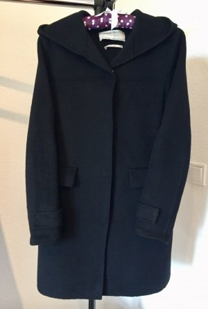 Zara Basic Cappotto con cappuccio nero Lana
