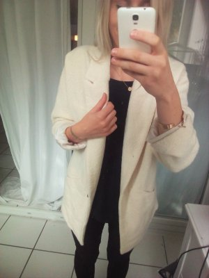 Zara Mantel nude beige Wollmantel