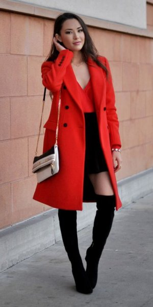 Zara Mantel Rot tailliert Wollmantel L 40 42