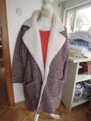 Zara Mantel Rot Wollweiß Gr.M NEU