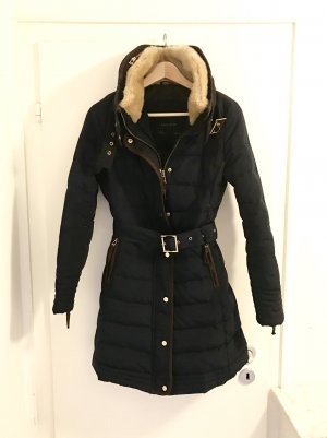 Zara Mantel S 36 blau gold Fell Stepp Jacke Gürtel Herbst Winter Top