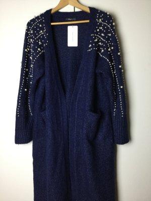 Zara Manteau en laine bleu-bleu acier tissu mixte