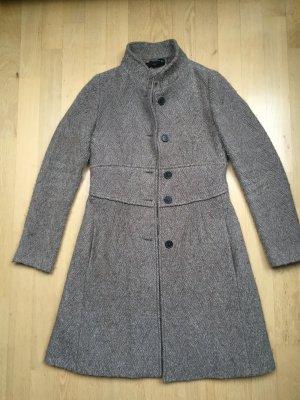 ZARA Mantel Wolle Boucle taupe meliert tailliert