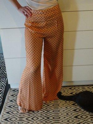 Zara Maxi Palazzo Marlene Hose Seide Print Muster orange blau boho hippie