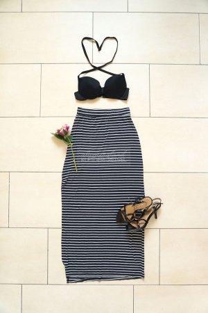 Zara Maxi Skirt dark blue-white