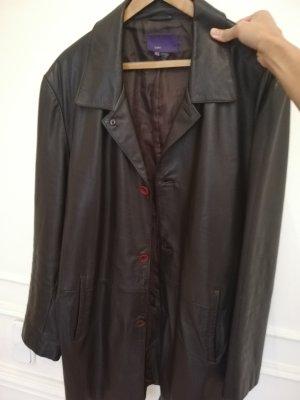 Zara Manteau en cuir noir-brun noir cuir