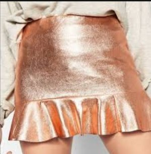 Zara Metallic Rose Gold Frill Mini Rock ibiza coachella