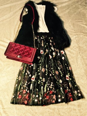 Zara Mid Skirt High Waist Florale Stickerei Embroidery Gr. S/M