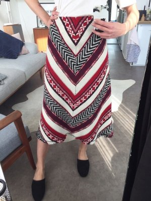 Zara Midi Blogger High Waist Rock Stickerei Embroidered Folklore Gr. M A-linie