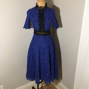 Zara Vestido a media pierna azul-negro