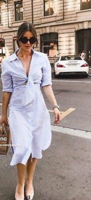 Zara Vestido a media pierna blanco-azul celeste