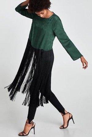 Zara Hemdblousejurk zwart-bos Groen